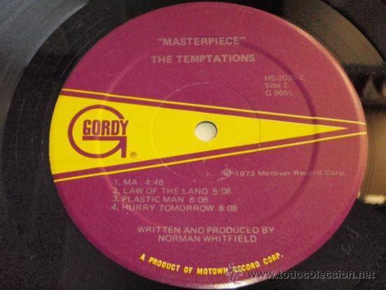 Discos de vinilo: TEMPTATIONS ( MASTERPIECE ) CALIFORNIA-USA 1973 LP33 MOTOWN RECORD - Foto 4 - 37054037