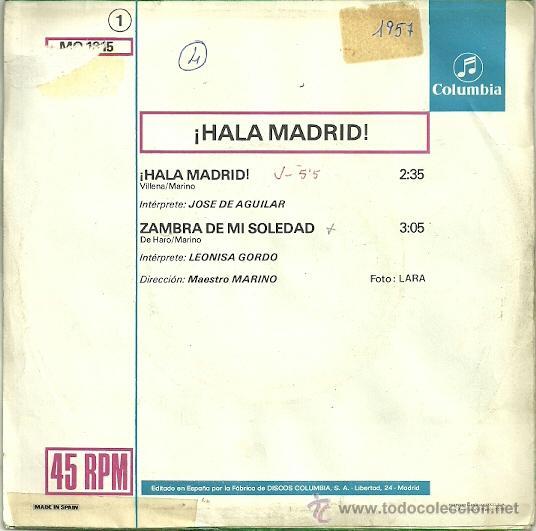 Discos de vinilo: JOSE DE AGUILAR ¡HALA MADRID! SINGLE SELLO COLUMBIA AÑO 1978 - Foto 2 - 37077467
