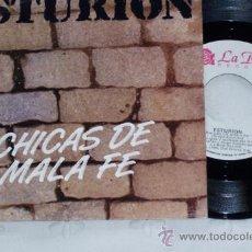 Discos de vinilo: ESTURION 7´SG - CHICAS DE MALA FE + 1 (1989) EDITA LA ROSA -PROMOCIONAL. Lote 37101289