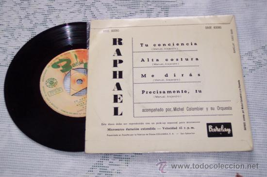 Discos de vinilo: RAPHAEL 7´EP TU CONCIENCIA + 3 (1963) GRAN CONDICION - Foto 2 - 45807183