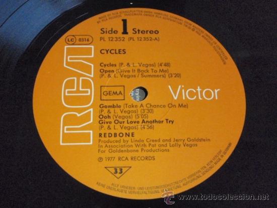Discos de vinilo: REDBONE featuring PAT & LOLLY VEGAS ( CYCLES ) 1977 - GERMANY LP33 RCA - Foto 5 - 37259365