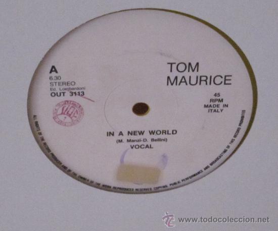 Discos de vinilo: TOM MAURICE - IN A NEW WORLD ITALY - LOMBARDONI - 1987 VINILO AMARILLO - Foto 2 - 37482389