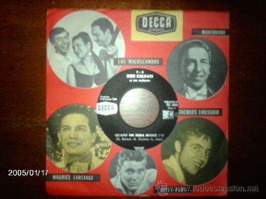 BOB CALFATI ET SON ORCHESTRE - QUAND ON SERA MARIE + TOBIA (Música - Discos - Singles Vinilo - Orquestas)
