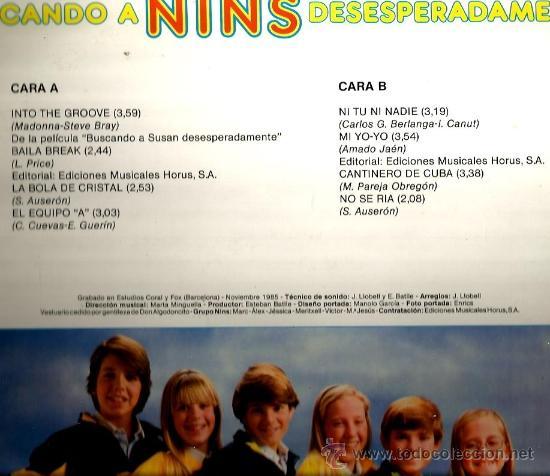 Discos de vinilo: LP BUSCANDO A NINS DESESPERADAMENTE ( CANCIONES DE MADONNA, SANTIAGO AUSERON, ALASKA DINARAMA, ETC ) - Foto 2 - 37401630