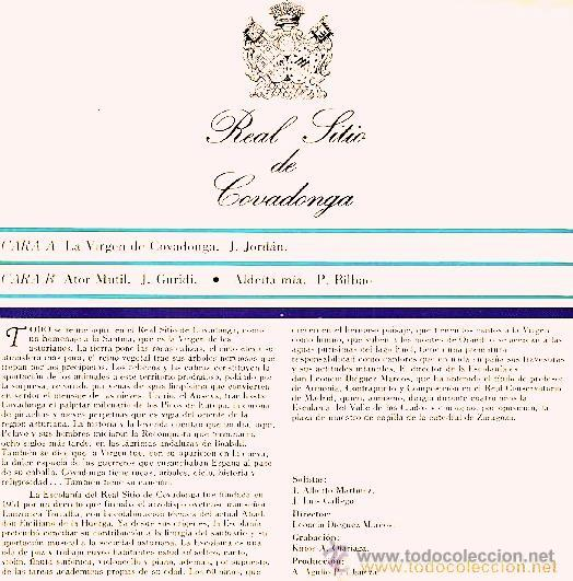 Discos de vinilo: REAL SITIO DE COVADONGA - ESCOLANÍA - POLIFONÍA DE CANTO POPULAR ASTURIANO - Foto 2 - 37417387