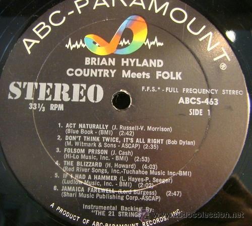 Discos de vinilo: BRIAN HYLAND / country meets folk 1964 !! PSYCH FOLK, ORIG. EDIT. USA !! TODO EXC !!!! - Foto 2 - 37445052