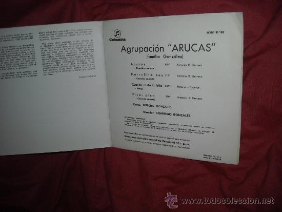 Discos de vinilo: AGRUPACION ARUCAS FAMILIA GONZALEZ CANTA CHECHA CANCION CANARIAS EP - Foto 3 - 37480125