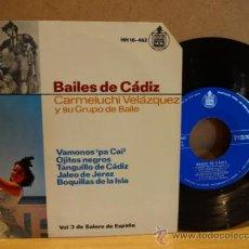Discos de vinilo: BAILES DE CÁDIZ. CARMENLUCHI VELÁZQUEZ. EPS HISPAVOX 1964. IMPECABLE.. Lote 37542967