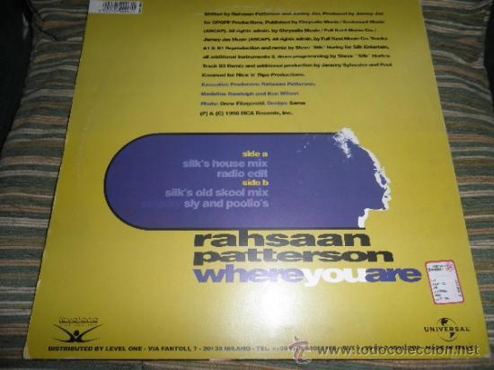 Discos de vinilo: RAHSAAN PATTERSON - WHERE YOU ARE MAXI EP 33 R.P.M.- 12 PULGADAS - ORIGINAL ITALIA - UNIVERSAL 1988 - Foto 16 - 37565303