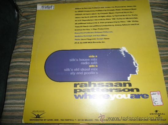 Discos de vinilo: RAHSAAN PATTERSON - WHERE YOU ARE MAXI EP 33 R.P.M.- 12 PULGADAS - ORIGINAL ITALIA - UNIVERSAL 1988 - Foto 10 - 37565303