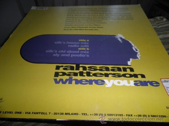 Discos de vinilo: RAHSAAN PATTERSON - WHERE YOU ARE MAXI EP 33 R.P.M.- 12 PULGADAS - ORIGINAL ITALIA - UNIVERSAL 1988 - Foto 15 - 37565303