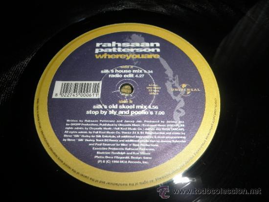 Discos de vinilo: RAHSAAN PATTERSON - WHERE YOU ARE MAXI EP 33 R.P.M.- 12 PULGADAS - ORIGINAL ITALIA - UNIVERSAL 1988 - Foto 7 - 37565303