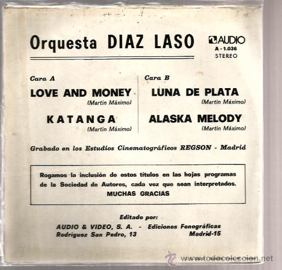 Discos de vinilo: EP ORQUESTA DIAZ LASO : LOVE AND MONEY ( 4 TEMAS DE MARTIN MAXIMO ) - Foto 2 - 37616466