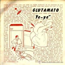Discos de vinilo: EP GLUTAMATO YE-YE : CORAZON LOCO + 3 ( CONTIENE ENCARTE ORIGINAL) . Lote 37621902