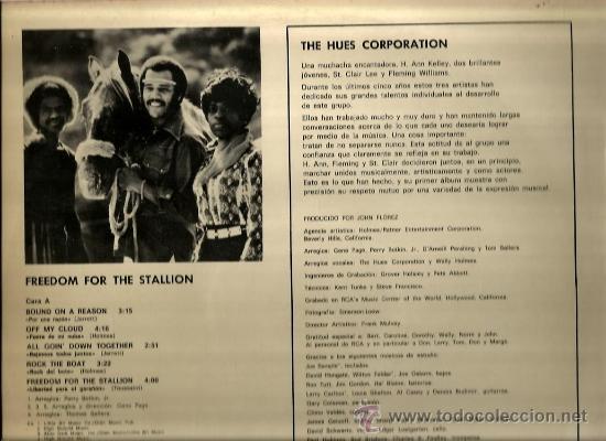 Discos de vinilo: LP THE HUES CORPORATION : FREEDOM FOR THE STALLION - Foto 2 - 37638690