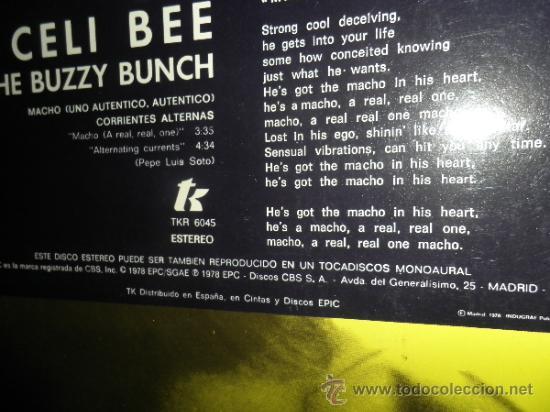 Discos de vinilo: CELI BEE & THE BUZZY BUNCH - MACHO- SUPER 45 MAXI - ORIGINAL ESPAÑA - EPIC 1978 - MUY NUEVO (5) - Foto 9 - 37667877