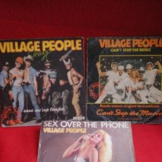 Discos de vinilo: 3 SINGLES DE VILLAGE PEOPLE. Lote 37727168