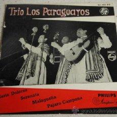 Discos de vinilo: TRIO LOS PARAGUAYOS ( MARIA DOLORES - SERENATA - MALAGUEÑA - PAJARO CAMPANA ) HOLANDA EP45 PHILIPS. Lote 37737183