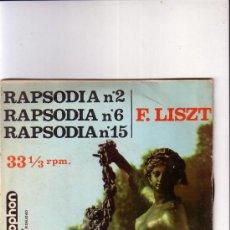 Discos de vinilo: RAPSODIA Nº 2, Nº 6, Nº 15-F. LISZT, RAYMOND TROUARD (PIANO). Lote 37738131