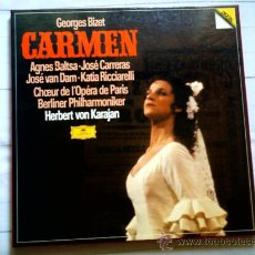 Discos de vinilo: VINILO. CARMEN, DE BIZET, CON A. BALTSA, J. CARRERAS Y H.V. KARAJAN (TRIPLE LP CAJA)(D. GRAMMOPHON). Lote 37751460