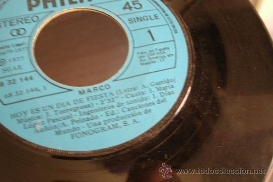 Discos de vinilo: MARCO - HOY ES UN DIA DE FIESTA - MAMA - SIN CARATULA - Foto 2 - 37861990