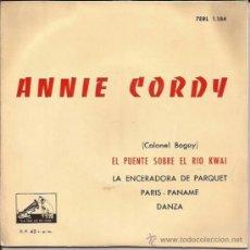 Discos de vinilo: EP-ANNIE CORDY-VOZ DE SU AMO 1184-1958-PUENTE SOBRE EL RIO KWAI. Lote 37762988