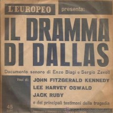 Discos de vinilo: SINGLE-IL DRAMA DE DALLAS-MUERTE DE KENNEDY-PERIODICO L´EUROPEO-ITALIA-DOCUMENTO SONORO-SIN FECHA. Lote 37766625