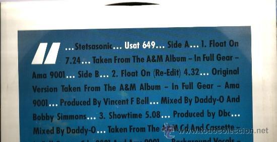 Discos de vinilo: MAXI STETSASONIC : FLOAT ON ( FEATURING THE FORCE M.D.´S ) - Foto 2 - 37768765