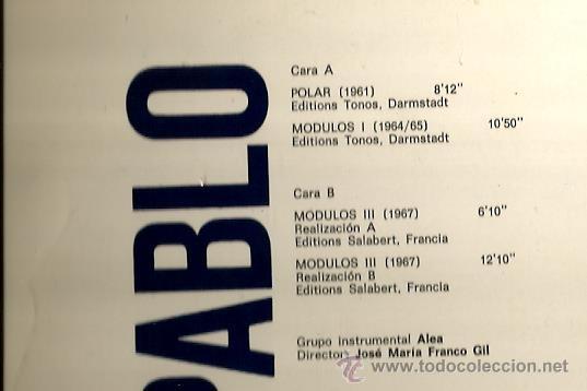 Discos de vinilo: LP LUIS DE PABLO & ALEA : POLAR - MODULOS 1 - MODULOS 3 - Foto 2 - 37806662