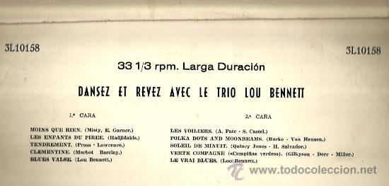 Discos de vinilo: LP LOU BENNET TRIO : DANSEZ, REVEZ AVEC LE TRIO LOU BENNETT - Foto 2 - 37806794