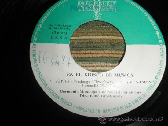 Discos de vinilo: HARMONIE MUNICIPALE DE SAIN-JEAN DE LUZ - EN EL KIOSKO DE LA MUSICA EP - ORIGINAL ESPAÑA ZAFIRO 1962 - Foto 5 - 37799465