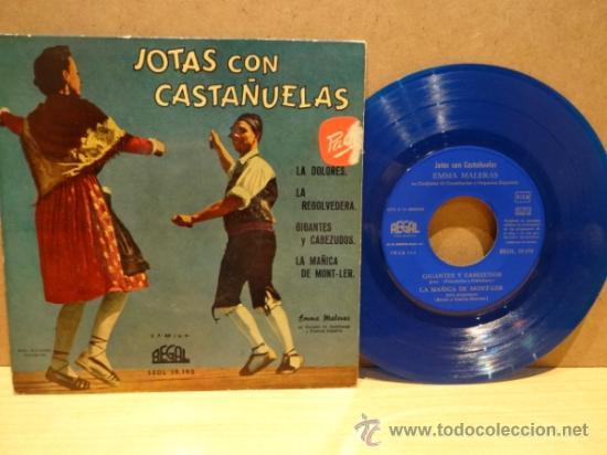 EMMA MALERAS. JOTAS CON CASTAÑUELAS. EP REGAL 1958. VINILO AZUL. MUY BUENA CALIDAD. ***/*** (Música - Discos de Vinilo - EPs - Country y Folk)