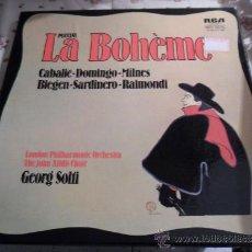 Discos de vinilo: PUCCINI LA BOHÈME BOHEME 1974 - CABALLE - DOMINGO - MILNES - RCA - 2 DISCOS + LIBRETO. Lote 37846695