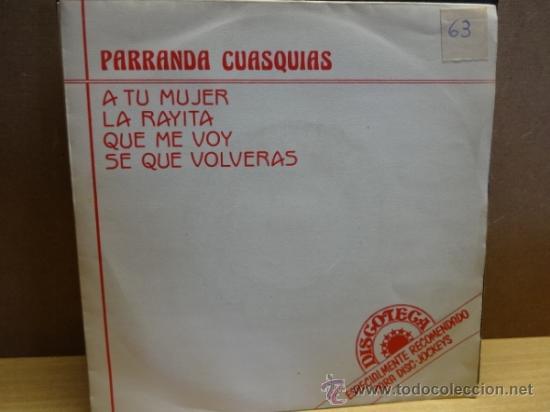 PARRANDA CUASQUIAS. ESPECIAL PARA DISC-JOCKEYS. SINGLE PROMO HISPAVOX 1987. BUENA CALIDAD. ***/*** (Música - Discos - Singles Vinilo - Disco y Dance)