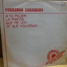 Discos de vinilo: PARRANDA CUASQUIAS. ESPECIAL PARA DISC-JOCKEYS. SINGLE PROMO HISPAVOX 1987. BUENA CALIDAD. ***/***. Lote 37909249