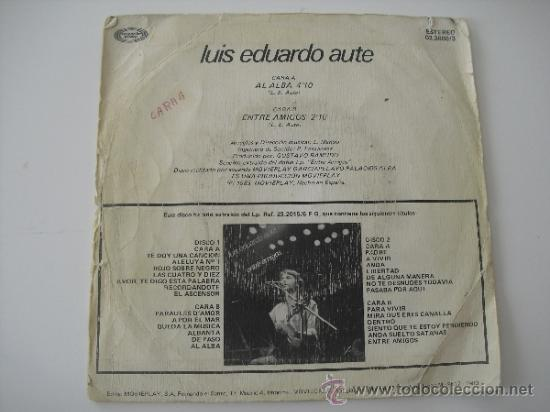 Discos de vinilo: Luis Eduardo aute - Al alba - Entre Amigos Single 45 RPM 1983 - Foto 2 - 37953421