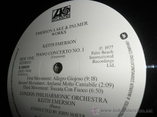 Discos de vinilo: EMERSON LAKE & PALMER - WORKS DOBLE LP - ORIGINAL INGLES - ATLANTIC 1977 - TRIFOLD COVER - - Foto 4 - 37957046