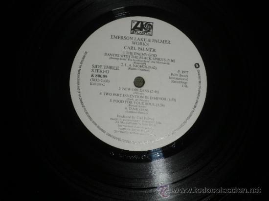 Discos de vinilo: EMERSON LAKE & PALMER - WORKS DOBLE LP - ORIGINAL INGLES - ATLANTIC 1977 - TRIFOLD COVER - - Foto 8 - 37957046