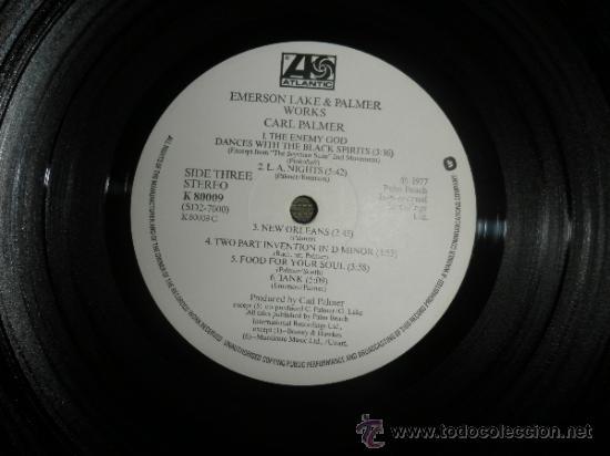 Discos de vinilo: EMERSON LAKE & PALMER - WORKS DOBLE LP - ORIGINAL INGLES - ATLANTIC 1977 - TRIFOLD COVER - - Foto 9 - 37957046