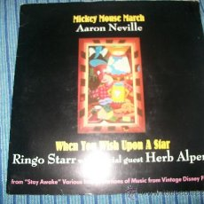 Discos de vinilo: PROMO EP - AARON NEVILLE / RINGO STARR - MICKEY MOUSE MARCH / WHEN YOU WISH UPON A STAR. Lote 38045119