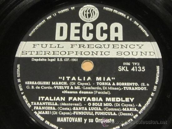 Discos de vinilo: MANTOVANI Y SU ORQUESTA - ITALIA MIA - LP - DECCA 1961 SPAIN - Foto 3 - 38051353