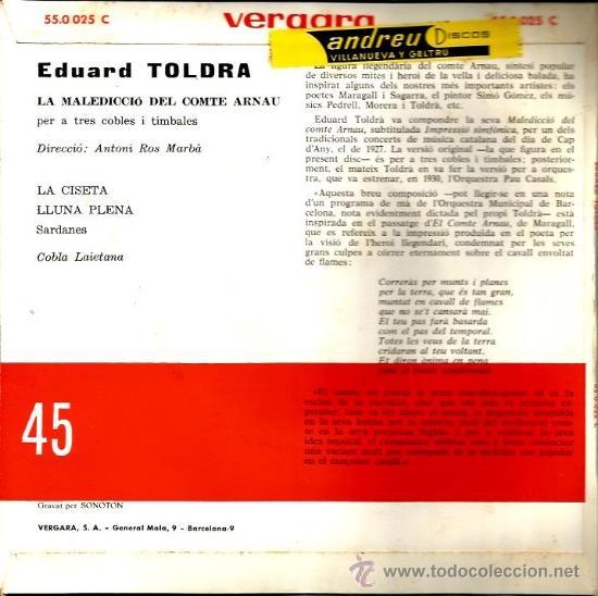 Discos de vinilo: EP EDUARD TOLDRA : LA MALEDICCIO DEL COMPTE ARNAU - Foto 2 - 38074527