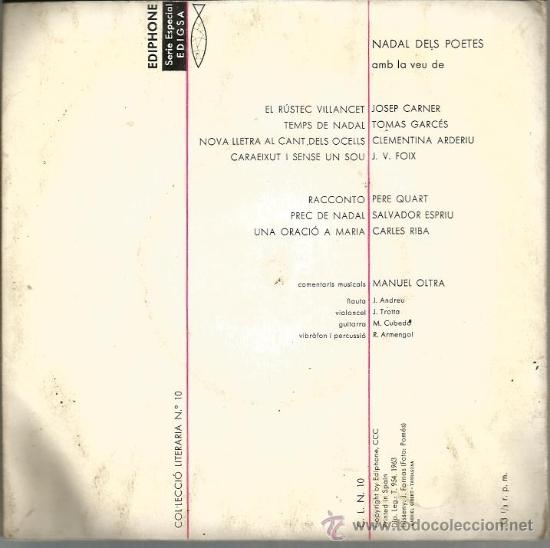 Discos de vinilo: EP NADAL DELS POETES : CARLES RIBA, JOSEP CARNER, PERE QUART, J.V. FOIX, ESPRIU, ETC - Foto 2 - 38074657