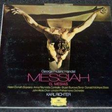 Discos de vinilo: EL MESIAS - HANDEL - KARL RICHTER - 3 DISCOS CON LIBRETO - DEUTSCHE GRAMMOPHON. Lote 201116458