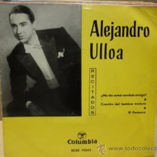 Discos de vinilo: ALEJANDRO ULLOA. RECITADOS. ME DA USTED CANDELA AMIGO ?. EP COLUMBIA 1963. CALIDAD NORMAL. ***/***. Lote 38253199