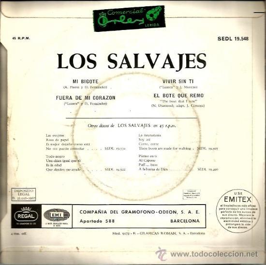 Discos de vinilo: EP LOS SALVAJES : ,MI BIGOTE - Foto 2 - 38298298