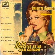Dischi in vinile: EP BABETTE SE VA A LA GUERRA ( BRIGITTE BARDOT) : JERRY MENGO Y SU ORQUESTA . Lote 38387642