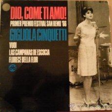 Discos de vinilo: GIGLIOLA CINQUETTI - DIO, COME TI AMO! +3 (EP ESPAÑOL 1966). Lote 38399897