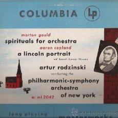 Discos de vinilo: LP-25 CTMS-MORTON GOULD AARON COPLAND SPIRITUALS FOR ORCHESTRA-COLUMBIA 2042-USA 1949. Lote 38496292