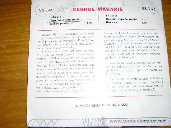 Discos de vinilo: GEORGE MAHARIS (RUTA 66) - ENSEÑAME ESTA NOCHE Y OTROS - CBS - Nº 33145 - ARGENTINA - Foto 2 - 38581839